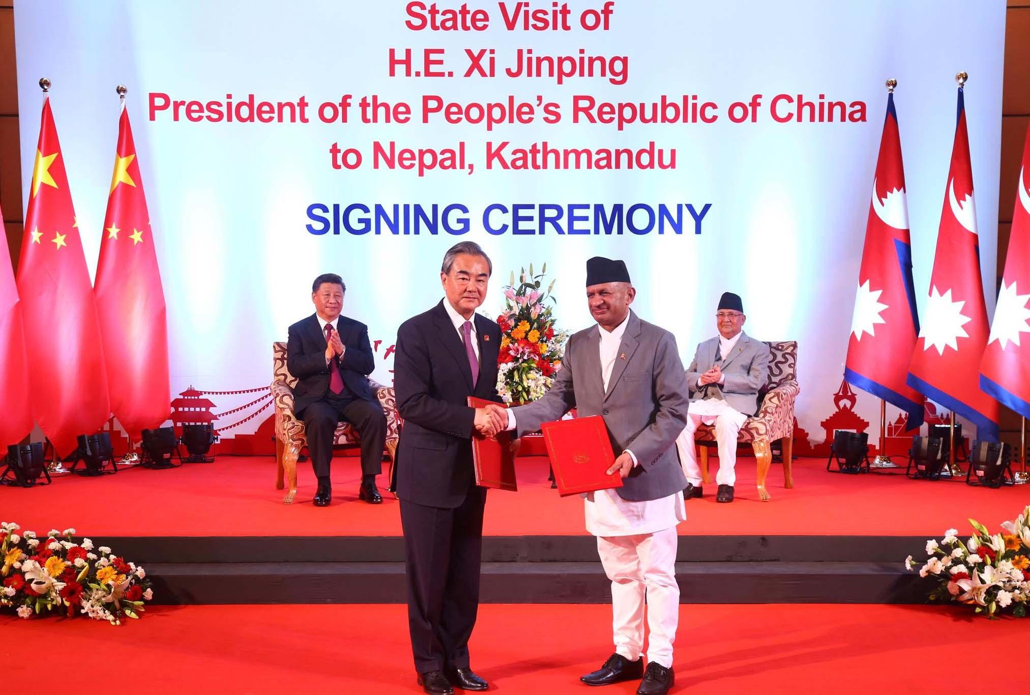 नेपाल-चीनबीच १७ वटा सम्झौता र समझदारी पत्रमा हस्ताक्षर