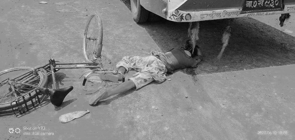 बर्दगोरीयामा बसको ठक्करबाट साइकल यात्रीको मृत्यु
