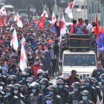 प्रचण्ड–माधव समूहले काठमाडौंमा निकाल्यो विजय जुलुस